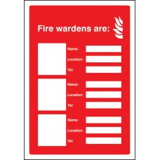 Fire Wardens Are (3 Names, Locations and Numbers)