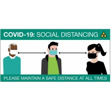 COVID-19 Social Distancing Cartoon - Sign / Banner