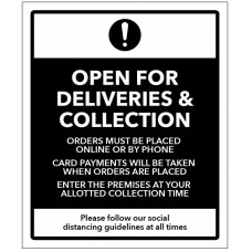 Open for Deliveries and Collections