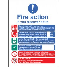 Multi-lingual Fire Action Manual Lift (English - French - German)