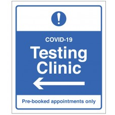 COVID-19 Testing - Pre-booked appointments only (arrow left)