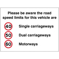 Please Be Aware the Road Speed Limits for this Vehicle Are 40,50,60mph