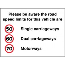 Please Be Aware the Road Speed Limits for this Vehicle Are 50,60,70mph