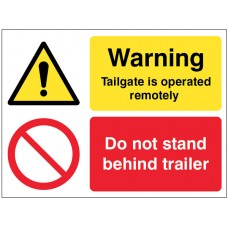 Warning - Tailgate Is Operated Remotely Do Not Stand Behind Trailer