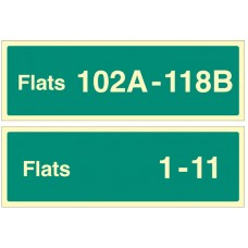 Flats X-Y (Specify when Ordering: eg 1-20) - Stairway Dwelling ID Signs