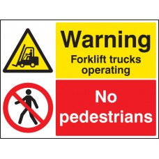 Warning - Forklift Trucks Operating No Pedestrians