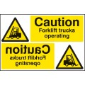 Caution - Forklift Trucks Operating Reflection Sign