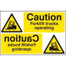Caution Forklift Trucks Operating Reflection Sign