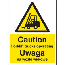 Caution - Forklift Trucks Operating (English/polish)
