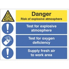 Risk of explosive atmosphere, test for oxygen deficiency, supply fresh air