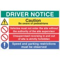 Driver notice Be aware of pedestrians - Unsupervised reversing forbidden?