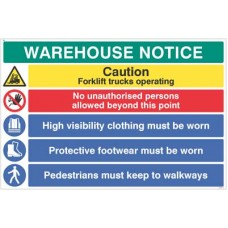 Warehouse Safety Caution forklift trucks, hivis, boots must be worn ?