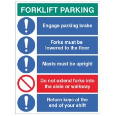 Forklift Parking Engage brakes - lower forks - return keys?