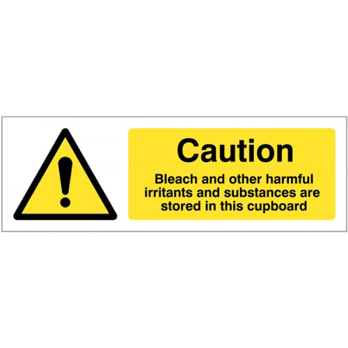 Caution - Bleach and Other Harmful Irritants and Substances Are Stored in this Cupboard