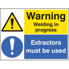 Warning - Welding in Progress Extractors Must Be used