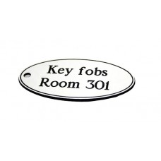 Key Fob - Oval - White