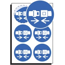 6 x Seatbelt Symbol Labels - 65mm Diameter