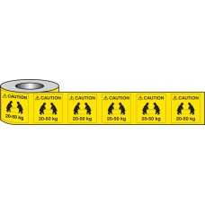 500 x Caution 20-50kg Labels - 50 x 50mm