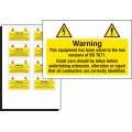 10 x Electrical Hazard Label - 75 x 50mm