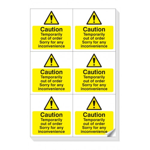 6 x Caution - Temporarily Out of Order Labels