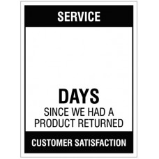 Service ? Days since a product return - 450x600mm rigid PVC with wipe clean over laminate