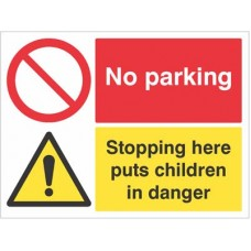 No parking Stopping here puts children in Danger -