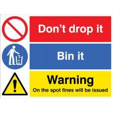 Don't drop it - Bin in - On the spot fines will be issued
