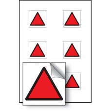 6 x Red Triangle Vibration Labels - 25 x 25mm