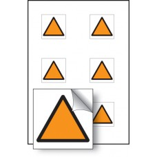 6 x Orange Triangle Vibration Labels - 25 x 25mm