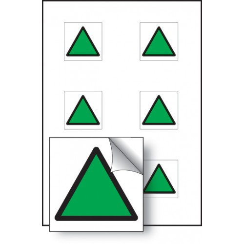6 x Green Triangle Vibration Labels - 25 x 25mm