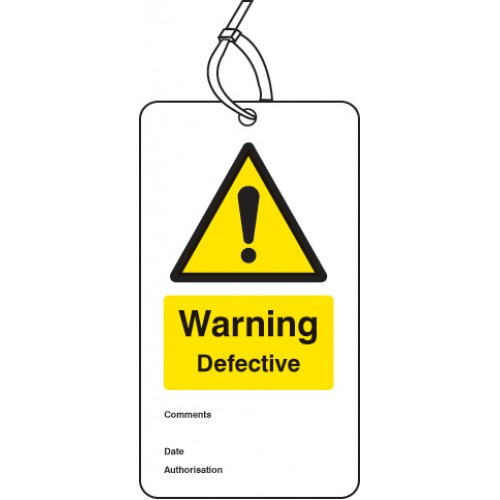 Warning Defective - Double Sided Safety Tag (Pack of 10)