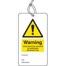 Warning Lockout to be Removed Etc.. - Double Sided Safety Tag (Pack of 10)