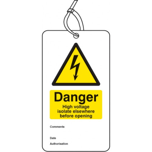 Danger - High Voltage Isolate Elsewhere - Double Sided Tag (Pack of 10)