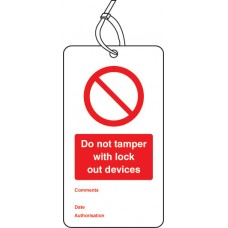 Do Not Tamper with Lock Out Devices - Double Sided Lockout Tag