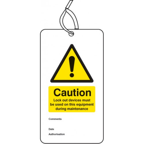 Lockout Tag - Lock Out Device Must Be used on this Equipment - 80 x 150mm (Pack of 10)