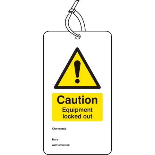 Caution - Equipment Locked Out - Double Sided Lockout Tag