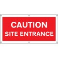Caution - Site Entrance - Banner with Eyelets