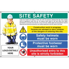 Site Safety, Helmets, Footwear, Unauthorised Entry Custom - Banner with Eyelets - 1270 x 810mm