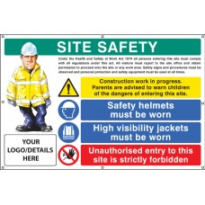 Site Safety, Helmets, Hi-vis, Unauthorised Entry Custom - Banner with Eyelets - 1270 x 810mm