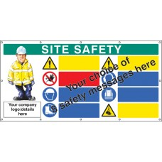 Site Safety, Multi-message, Design Your Own Custom - Banner with Eyelets - 1270 x 2440mm