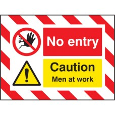 Door Screen Sign- No Entry Caution - Men At Work - 600 x 450mm