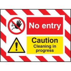 Door Screen Sign - No Entry Caution - Cleaning in Progress