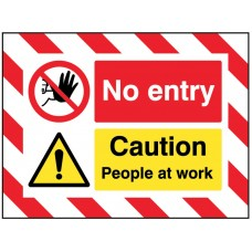 Door Screen Sign - No Entry Caution People at Work