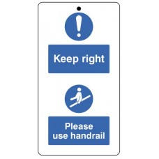Keep to the right & use the handrail.. double sided safety tags 80x150mm c/w cable ties (pack of 10)