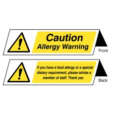 Food Allergy Notice - - Double Sided Plastic Table Cards (Pack of 5)