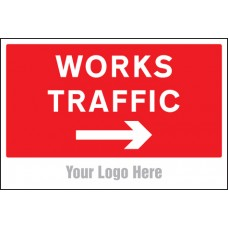 Works Traffic Only - Arrow Right - Site Saver Sign - 600 x 400mm