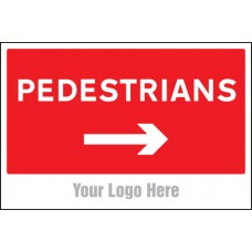 Pedestrians, Arrow Right - Site Saver Sign - 600 x 400mm