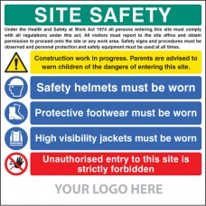 Site Safety Board, Helmets, Footwear, Hi Vis, Unauthorised Entry - Site Saver Sign 1220 x 1220mm