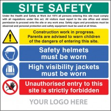 Site Safety Board, Helmets, Hi-vis, Unauthorised Entry - Site Saver Sign 1220 x 1220mm