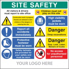 Site Safety Board, Multi-message, Deep Excavations - Site Saver Sign 1220 x 1220mm
